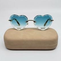CHLOE ROSIE CE150S Gold/Blue Turquoise Scalloped Heart Women's Sunglasses  - $175.00