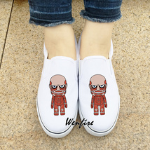 Wenfire White Skateboarding Canvas Shoes Slip On Anime Attack on Titan S... - $45.00