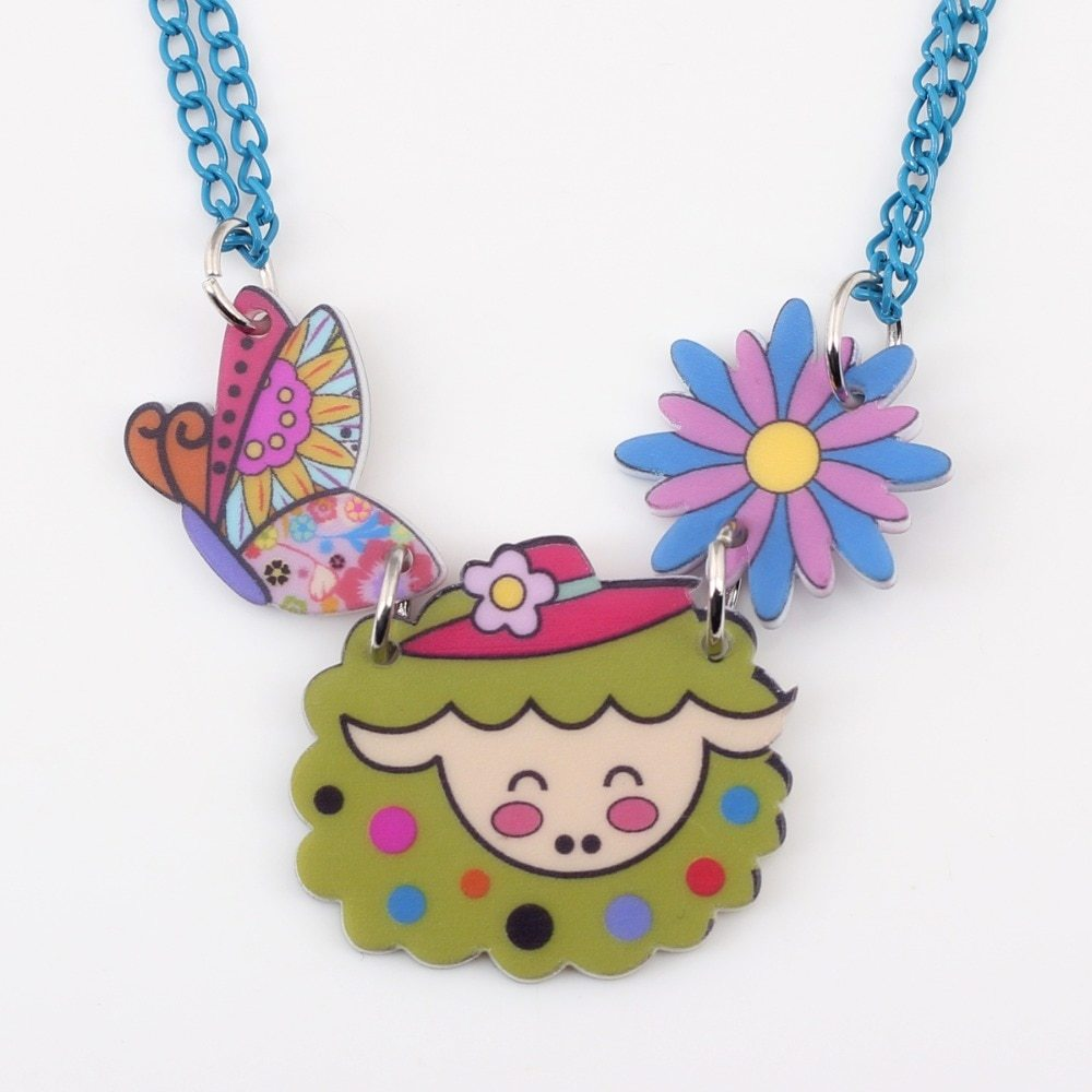 sheep necklace pendant acrylic pattern 2016 news accessories spring summer cute