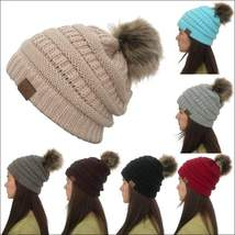 Women Winter Warm hat Beanie CC with Cute Faux Fur Pom Pom Ball knitted ... - $15.99