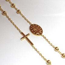 Collier Chapelet or Jaune 750 18K, Médaille Miraculeuse et Croix Latéraux, 50 CM image 5