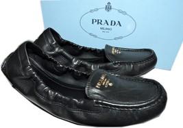 Prada Gold Logo Black Leather Scrunchy Flats Shoe Loafer 39.5 Ballerina ... - $299.91