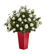 Rose Bush Artificial Plant in Red Planter - $172.50