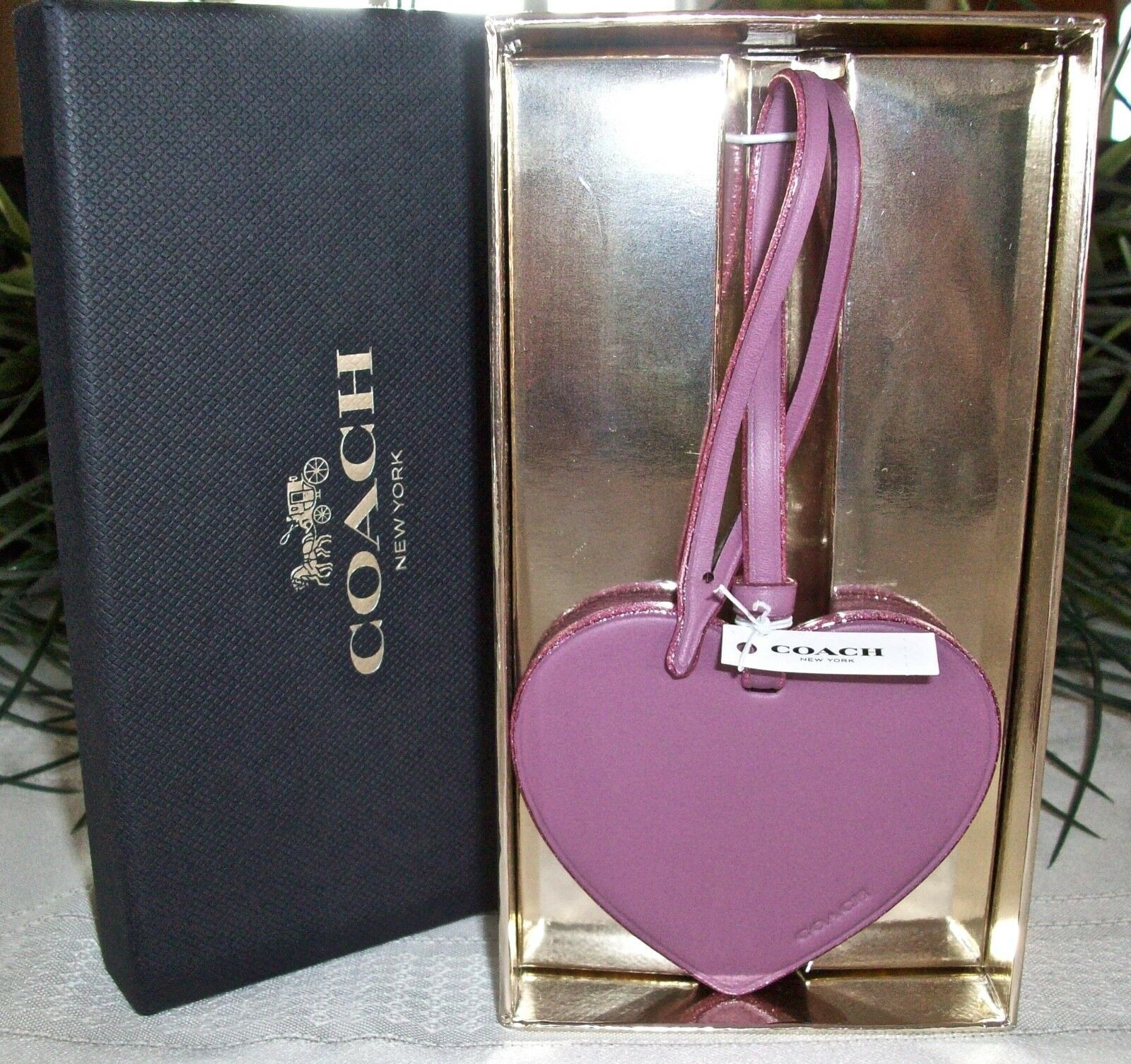 Coach Boxed Leather Heart Charm Ornament Glitter Edges 21517 NWT Primrose image 2