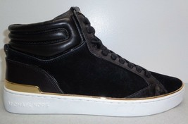 Michael Kors Size 6 M PHOEBE Black Suede High Top Sneakers New Womens Shoes - $157.41
