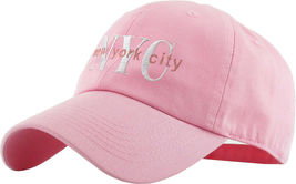 NYC Washed Polo Style Baseball Ball Cap Hat 100% Cotton - Pink #KBT13  - $18.17