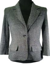 Daisy Fuentes 4 Blazer Gray Wool Tweed Twill Fall Career Casual Suit Coa... - $57.59