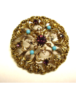 Vintage Simulated Garnet and Turquoise Filigree Brooch / Pin - $17.99