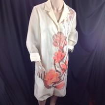 Vtg Signed Alfred Shaheen Exotic Asian Floral Shirt Dress Sheer 3/4 Slee... - $94.05