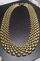Vintage Napier gold Panther 7 row link Necklace - $48.60