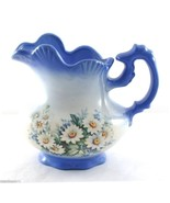 Handcrafted Ceramic Pitcher Signed by Patricia 1985 Blue White Daisies 5... - $14.95