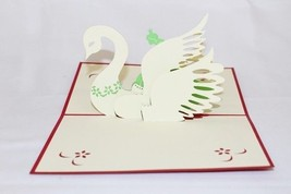 Swan, 3D Pop Up Greeting card, Handmade Happy Birthday, Anniversary 171 - $4.99