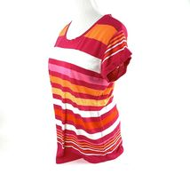 A.N.A. Women's Size M Pullover Short Sleeve Cotton Striped Mult-color T-Shirt EC image 3