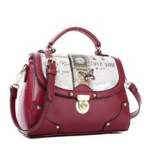 Fashion Print Big Ben Red Leather Handbag