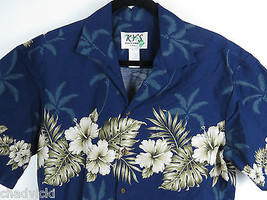 Ky's Made in Hawaii Button Front Floral Palm Trees Shirt Men's Size M - $21.73