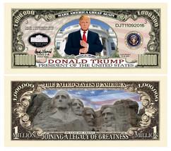 5 Donald Trump President Money Fake Dollar Bills Legacy Note Million Lot - $4.95