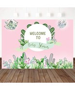 Mocsicka Cactus Theme Backdrop Welcome Baby Shower Pink Background Birth... - $18.49