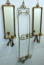 VINTAGE 3 PC MIRRORED WALL CANDLE SCONCES AND HANGING PLATE RACK WITH RO... - $29.65