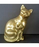 """Brass Cat Figurine Door Stop Book End 6.5"""" Metal Home Interior Statue Decor - $29.68"""