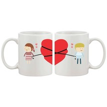 Love Connecting 11oz Couple Matching Ceramic Mugs Valentines Day Gift Co... - $24.99