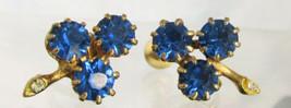 Vintage 3 Stone Flower Cluster Earrings Screws Backs Sapphire Blue Rhine... - $13.50