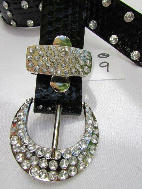 Damen Kunstleder Western Schwarz Gürtel Große Schleife Silber Perlen Schnalle image 9