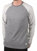 Akomplice Men's Grey Heather Button Fleece Raglan Crew Neck Shirt NWT image 2