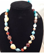 New Cookie Lee Adjustable Ribbon Necklace w/Various Polished Stones - $12.69