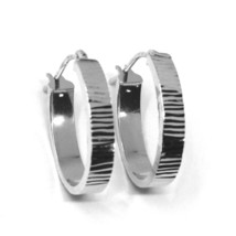 18K WHITE GOLD CIRCLE HOOPS OVAL SQUARED STRIPED WORKED EARRINGS 20 MM x 4 MM image 2