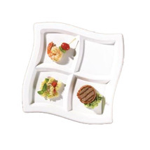 Clear 10 Inch 4 Compartments Square Waves Plastic Plates/Set of 120 - $208.35