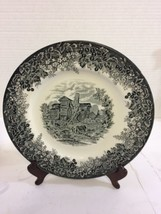 Wedgwood Queen's Ware Moreton Old Hall 11 In Black Dinner Plate Romantic... - $14.46