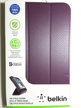Original BELKIN Tri-Fold Folio Purple Case Cover for Samsung Galaxy Tab ... - $8.95