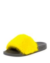 Givenchy Mink Fur Pool Slide Sandal, Yellow 38 MSRP: $595.00 - $414.81
