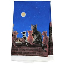 Dreamers Welcome Dish Towel - Cats Under A Full Moon Kitchen Cloth Acces... - $18.70