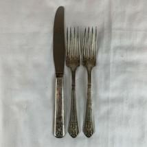 Vintage Royal Saxony Silverplate Flatware Lot Of 3 Pcs 2 Forks 1 Knife T... - $24.75