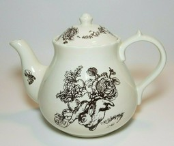 Bunny Toile Brown by Jay Willfred Ceramic Ivory Teapot  5 Cup Rabbit & V... - £20.58 GBP