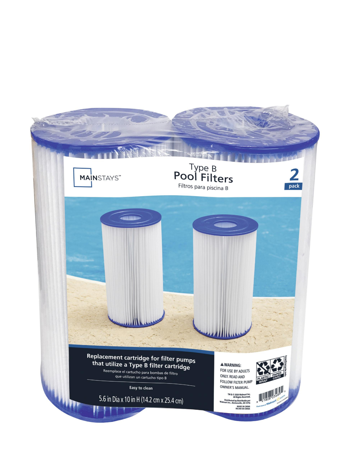 Mainstays Type IV, B Replacement Pool Filter Cartridge, 5.6 in x 10 in - 2 Pack