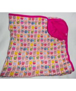 Zutano Owl Baby Receiving Blanket Pink Bird Print Square Cotton Girl Infant - $25.62