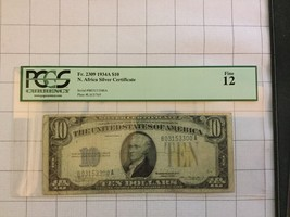 1934A North Africa Silver Certificate $10 Dollar Bank Note PCGS Fine 12 - $35.00
