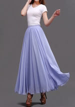 AQUA BLUE Long Chiffon Skirt High Waisted Full Circle Wedding Bridesmaid Skirt image 13