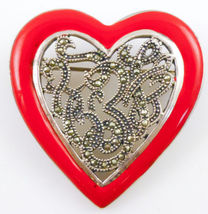 HEART Brooch Pin in Sterling Silver and Red Enamel with Marcasites - FRE... - $49.50