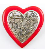 HEART Brooch Pin in Sterling Silver and Red Enamel with Marcasites - FREE SHIP - £35.63 GBP