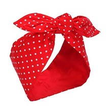 Sea Team Cotton Headband Bows Red with White Polka Dots Double Wide Head... - $12.67