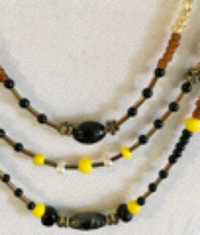 Multi-strand Black and Yellow Beaded Necklace - $11.99
