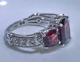 Garnet White Topaz Platinum .925 Sterling Silver Ring Size 5 - $33.25