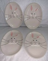 Whimsy Home Raised Ceramic Bunny / Rabbit Snack Dessert Plate set (4) Pl... - $29.69