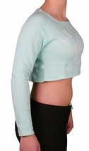Young & Reckless Women's Mint Ice Green Love Cotton Fleece Crop Sweater NWT image 2