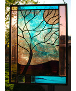 Stained Glass Window Panel Personalized Moonlit Tree Turquoise Purple - $250.00