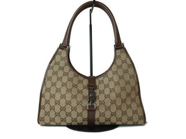 Authentic GUCCI GG Pattern JACKIE Canvas Leather Browns Shoulder Bag GS9... - $198.00