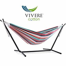 Vivere Double Cotton Hammock with Space Saving Steel Stand, Plumeria 450... - $95.78